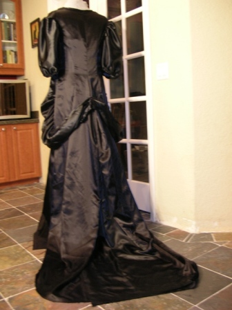 How to make a black satin Victorian Gown costume sewing Simplicity 4244 Bridal Pattern