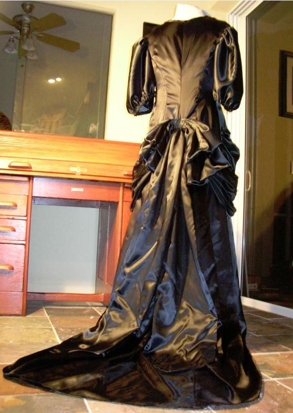 Custom Black Satin Neo-Victorian Gown with faux Bustle and short Train