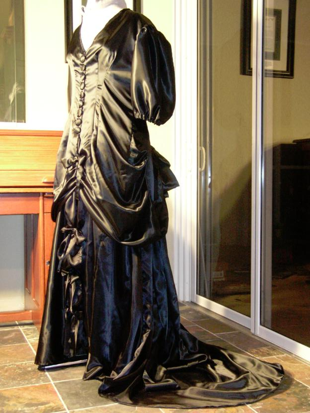 Custom Black Satin Victorian-Inspired Gown with faux Bustle and short Train