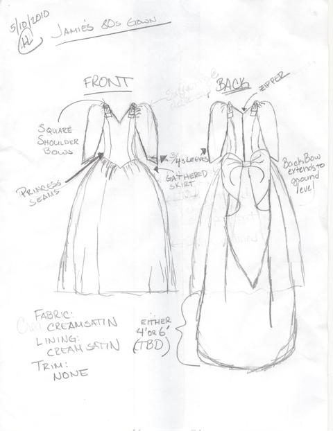 wedding dress designs sketches. 1980s Wedding Gown Sketch
