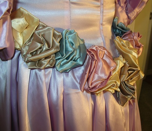 1980s Style Prom Dress with Roses