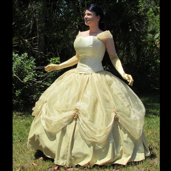 beauty beast gown costume dress yellow gold custom outfit